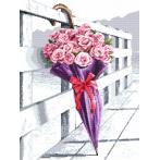 Zestaw z nadrukiem i muliną - Parasol kwitnących róż