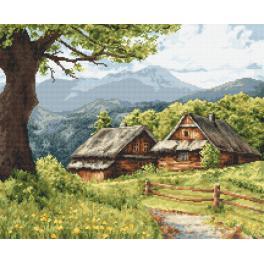 Zestaw z nadrukiem i muliną - Górskie chaty