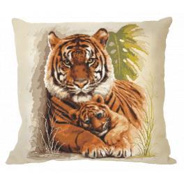 Zestaw z muliną i poszewką - Poduszka z tygrysami