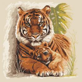 Zestaw z nadrukiem i muliną - Tygrysy