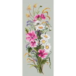 K 10214 Kanwa z nadrukiem - Bukiet polnych kwiatów