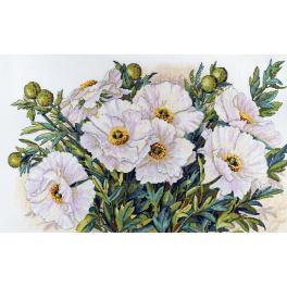 Zestaw z muliną - Białe kwiaty