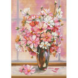Zestaw z muliną i podmalowanym tłem - Kwiatowa mgiełka