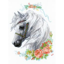 Zestaw z włóczką - Biała klacz i róże