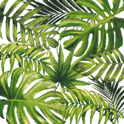 Kanwa z nadrukiem - Egzotyczne liście