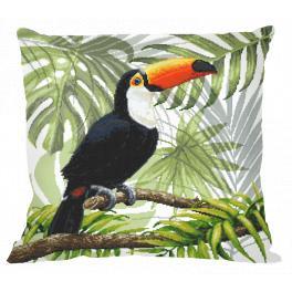 Wzór graficzny - Poduszka - Tukan w tropikach