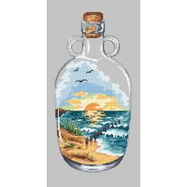 Kanwa z nadrukiem - Butelka z zachodem słońca