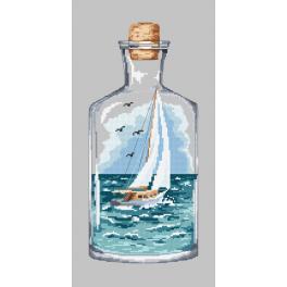 Kanwa z nadrukiem - Butelka z żaglówką