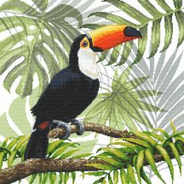 ZN 8978 Zestaw z nadrukiem i muliną - Tukan w tropikach