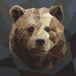 Kanwa z nadrukiem - Mozaikowy niedźwiedź