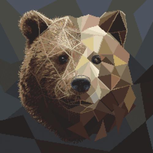 Aida z nadrukiem - Mozaikowy niedźwiedź