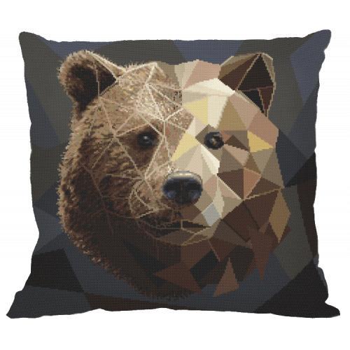 Wzór graficzny - Poduszka - Mozaikowy niedźwiedź