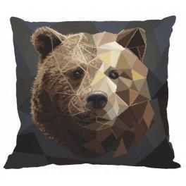 Zestaw z muliną i poszewką - Poduszka - Mozaikowy niedźwiedź