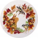 Zestaw z muliną, koralikami i wstążką - Jesienny wieniec