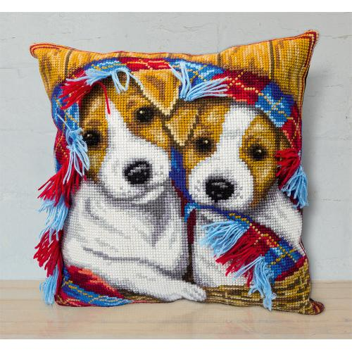 Zestaw z muliną - Poduszka - Przytulny koszyk szczeniaczków
