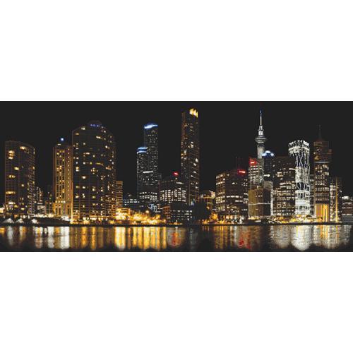 Zestaw z nadrukiem i muliną - Miasto nocą