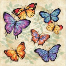 DIM 35145 Zestaw z muliną i podmalowanym tłem - Obfitość motyli - haft krzyżykowy