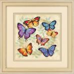 Zestaw z muliną i podmalowanym tłem - Obfitość motyli - haft krzyżykowy
