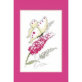Zestaw z muliną i koralikami - Kartka okolicznościowa - Motyl
