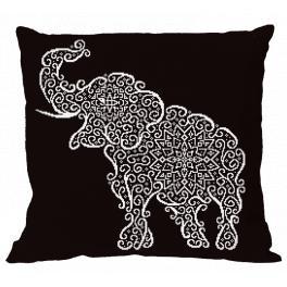 Zestaw z muliną i poszewką - Poduszka - Koronkowy słoń - Haft krzyżykowy