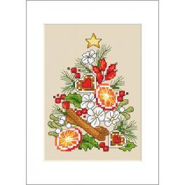 Zestaw z muliną i kartką - Kartka - Świąteczna choinka