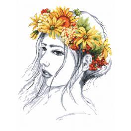 Zestaw z nadrukiem i muliną - Jesienna pani