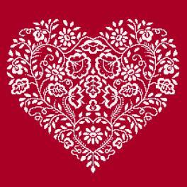 Zestaw z muliną - Serce - Biały haft