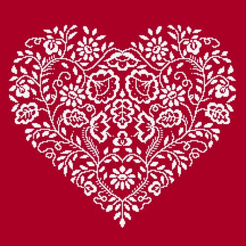 Wzór graficzny - Serce - Biały haft