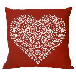 Wzór graficzny - Poduszka - Serce - Biały haft
