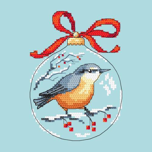 Wzór graficzny ONLINE - Bombka z ptaszkiem