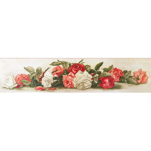 Zestaw z muliną i podmalowanym tłem - Piękne retro róże