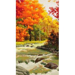 NHHD 0078 Zestaw z muliną, koralikami i podmalowanym tłem - Jesienna melodia