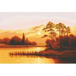 Zestaw z muliną - Zachód słońca nad jeziorem