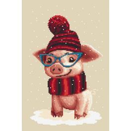 Zestaw z nadrukiem i muliną - Zimowa świnka