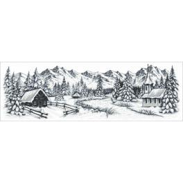 ZN 8990 Zestaw do haftu z nadrukiem - Zimowe góry