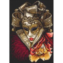 K 10403 Kanwa z nadrukiem - Karnawałowa maska