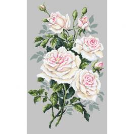 ZN 10242 Zestaw z nadrukiem i muliną - Białe róże