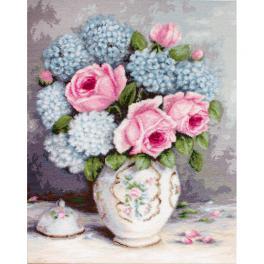 Zestaw z muliną - Róże i hortensje