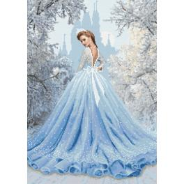 Zestaw z nadrukiem i muliną - Śnieżna dama