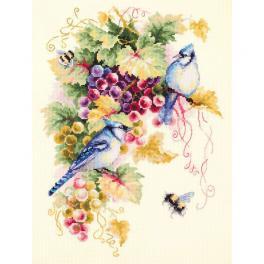 Zestaw z muliną - Sójki błękitne na winogronach