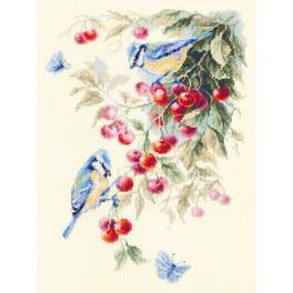 Zestaw z muliną - Sikorki modraszki na wiśni
