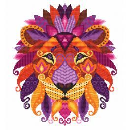 ZN 10604 Zestaw z nadrukiem i muliną - Kolorowy lew
