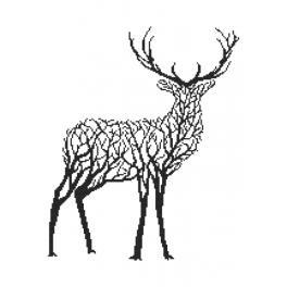 GC 10249 Wzór graficzny - Czarny jeleń