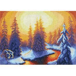 PAPS 0276 Zestaw do haftu - Płonące świerki