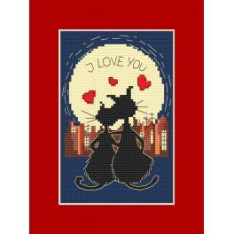 W 8394 Wzór graficzny online - Kartka - Zakochane kociaki