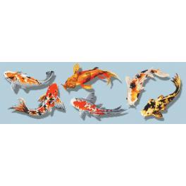 ZN 10612 Zestaw z nadrukiem i muliną - Kolorowe ryby