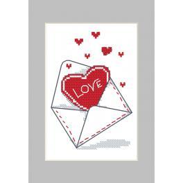 Wzór graficzny ONLINE - Kartka - Koperta z sercem