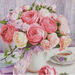 M AZ-1696 Zestaw do diamond painting - Piwonie i róże