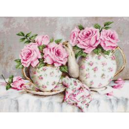 Zestaw z muliną - Poranna herbatka z różami