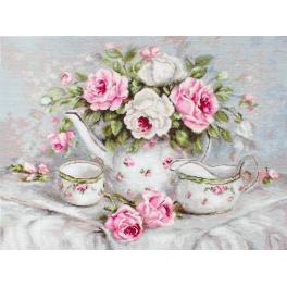 Zestaw z muliną - Angielska herbatka z różami